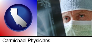Carmichael, California - a physician viewing x-ray results