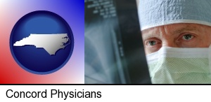 Concord, North Carolina - a physician viewing x-ray results