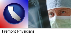 Fremont, California - a physician viewing x-ray results