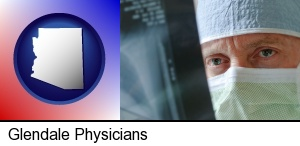Glendale, Arizona - a physician viewing x-ray results
