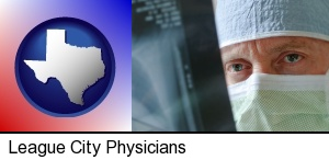a physician viewing x-ray results in League City, TX