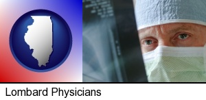 Lombard, Illinois - a physician viewing x-ray results