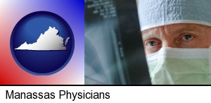 Manassas, Virginia - a physician viewing x-ray results