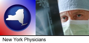 New York, New York - a physician viewing x-ray results