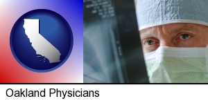 Oakland, California - a physician viewing x-ray results