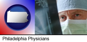 Philadelphia, Pennsylvania - a physician viewing x-ray results