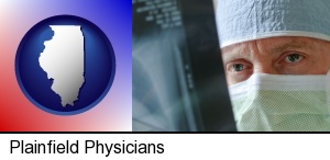 Plainfield, Illinois - a physician viewing x-ray results