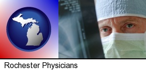 Rochester, Michigan - a physician viewing x-ray results