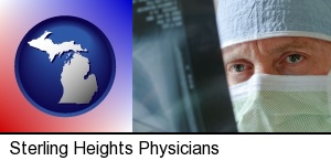 Sterling Heights, Michigan - a physician viewing x-ray results