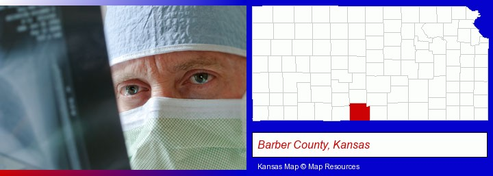 a physician viewing x-ray results; Barber County, Kansas highlighted in red on a map