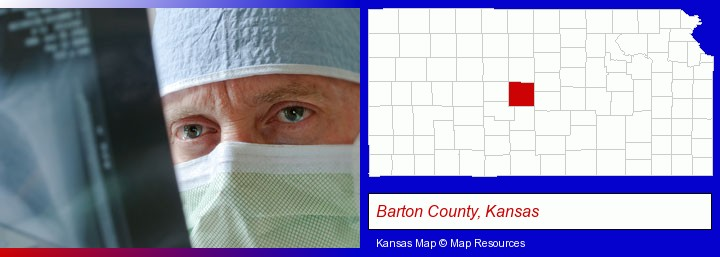 a physician viewing x-ray results; Barton County, Kansas highlighted in red on a map