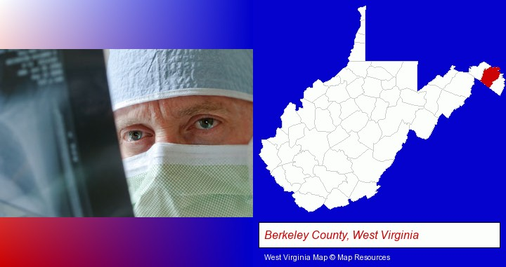 a physician viewing x-ray results; Berkeley County, West Virginia highlighted in red on a map