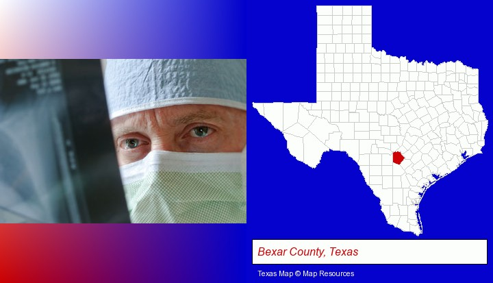 a physician viewing x-ray results; Bexar County, Texas highlighted in red on a map