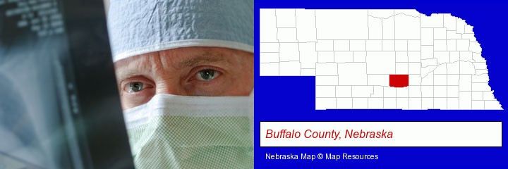 a physician viewing x-ray results; Buffalo County, Nebraska highlighted in red on a map
