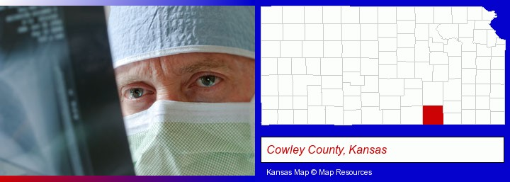 a physician viewing x-ray results; Cowley County, Kansas highlighted in red on a map