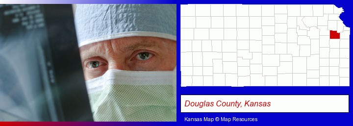 a physician viewing x-ray results; Douglas County, Kansas highlighted in red on a map