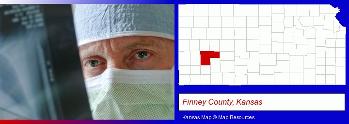 a physician viewing x-ray results; Finney County, Kansas highlighted in red on a map