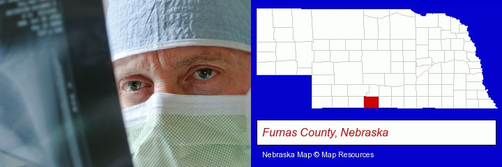 a physician viewing x-ray results; Furnas County, Nebraska highlighted in red on a map
