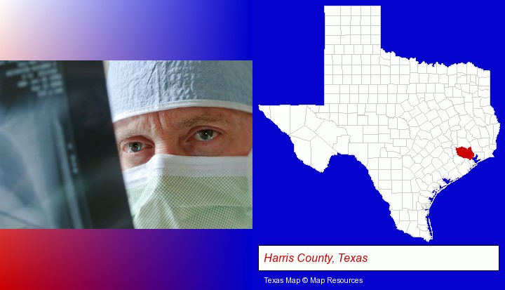 a physician viewing x-ray results; Harris County, Texas highlighted in red on a map