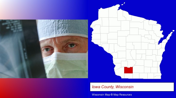 a physician viewing x-ray results; Iowa County, Wisconsin highlighted in red on a map