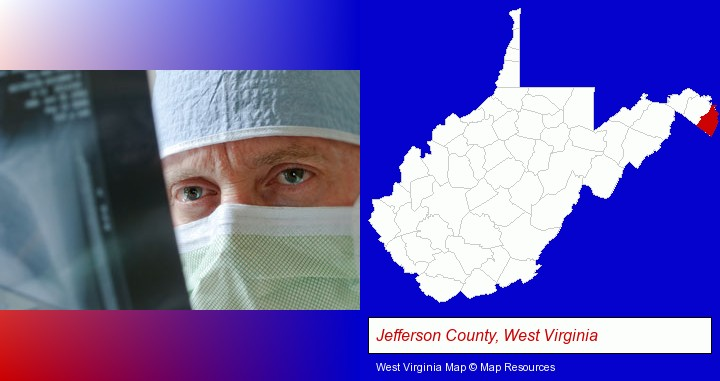 a physician viewing x-ray results; Jefferson County, West Virginia highlighted in red on a map