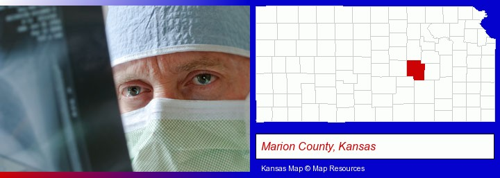 a physician viewing x-ray results; Marion County, Kansas highlighted in red on a map
