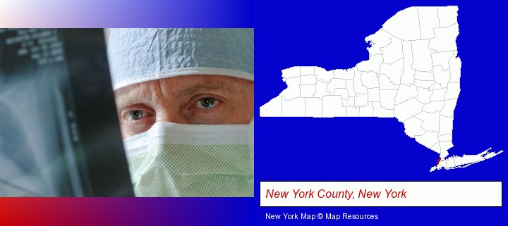 a physician viewing x-ray results; New York County, New York highlighted in red on a map