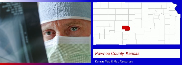 a physician viewing x-ray results; Pawnee County, Kansas highlighted in red on a map