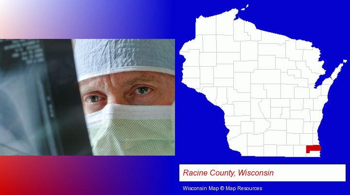 a physician viewing x-ray results; Racine County, Wisconsin highlighted in red on a map