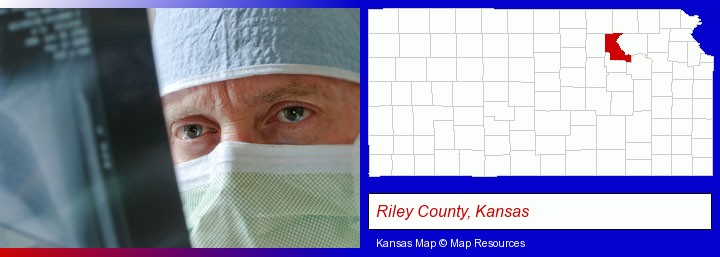 a physician viewing x-ray results; Riley County, Kansas highlighted in red on a map