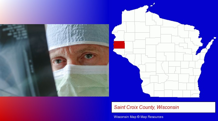 a physician viewing x-ray results; Saint Croix County, Wisconsin highlighted in red on a map