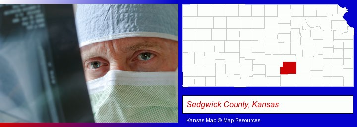 a physician viewing x-ray results; Sedgwick County, Kansas highlighted in red on a map