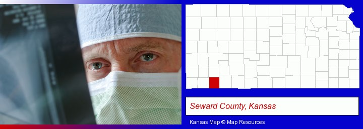 a physician viewing x-ray results; Seward County, Kansas highlighted in red on a map