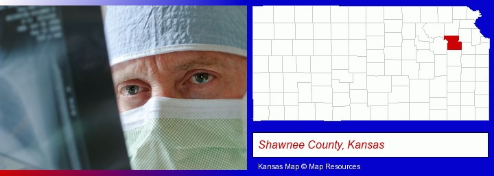 a physician viewing x-ray results; Shawnee County, Kansas highlighted in red on a map