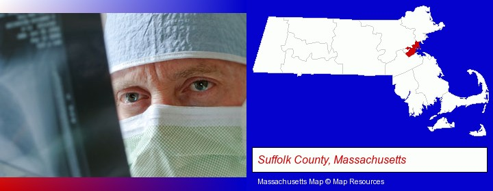 a physician viewing x-ray results; Suffolk County, Massachusetts highlighted in red on a map